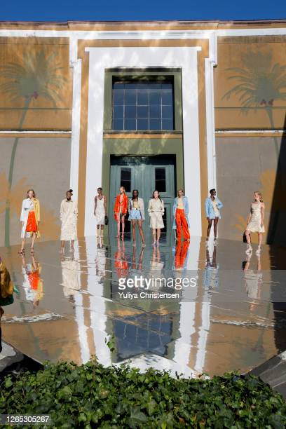 Models on the runway at the presentation for Remain Birger Chhristensen during the Copenhagen Fashion Week Spring/Summer 2021 on August 11, 2020 in...