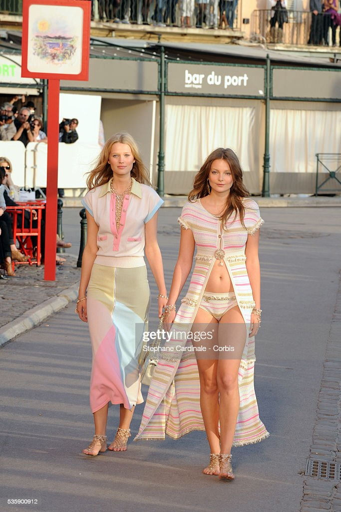 Models on the runway during the Chanel Cruise Collection Presentation in Saint Tropez