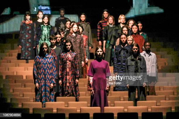 Models on the runway during the Odeeh Defile during the Berlin Fashion Week Autumn/Winter 2019 at Haus Der Berliner Festspiele on January 14 2019 in...