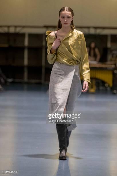 Models on the runway for Danish designer Freya Dalsjo during the Copenhagen Fashion Week Autumn/Winter 18 on January 31, 2018 in Copenhagen, Denmark.