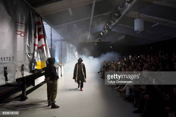 Models on the Runway for MUF10 during Copenhagen Fashion Week Autumn/Winter 17 on February 2 2017 in Copenhagen Denmark