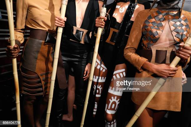 Models outfit details are seen backstage ahead of the Ceren Ocak show during MercedesBenz Istanbul Fashion Week March 2017 at Grand Pera on March 22...