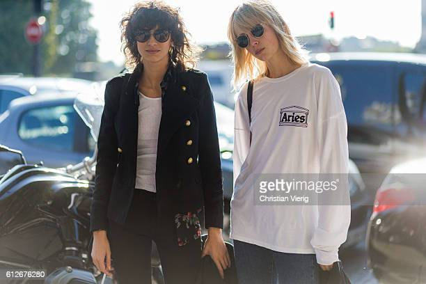 Models outside Chanel on October 4 2016 in Paris France