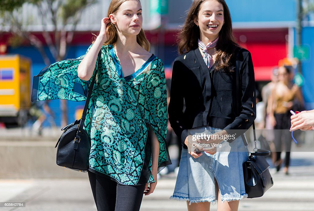 Models outside Delpozo on September 14, 2016 in New York City.
