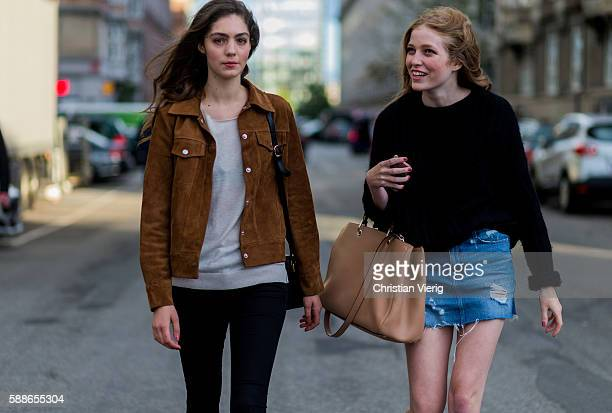 Models outside Lovechil during the second day of the Copenhagen Fashion Week Spring/Summer 2017 on August 11 2016 in Copenhagen Denmark