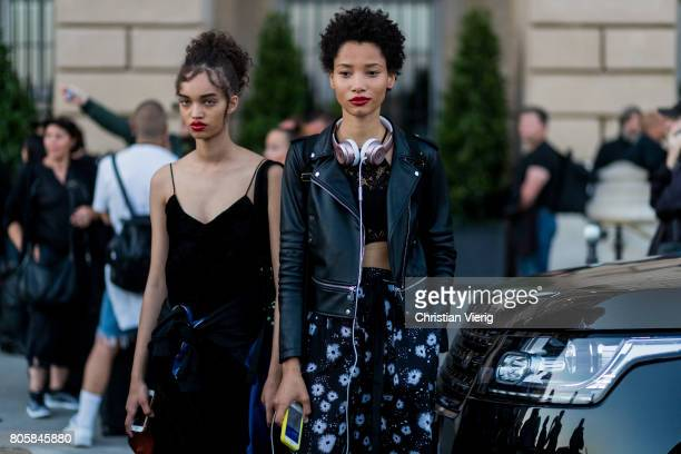 Models outside Miu Miu Cruise Collection during Paris Fashion Week Haute Couture Fall/Winter 20172018 Day One on July 2 2017 in Paris France
