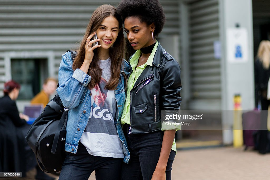 Models outside Mulberry during London Fashion Week Spring/Summer collections 2017 on September 18, 2016 in London, United Kingdom.