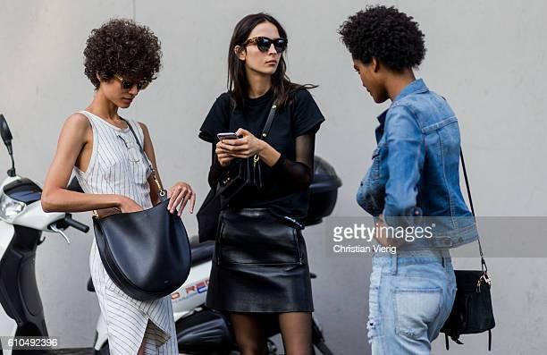 Models outside Trussardi during Milan Fashion Week Spring/Summer 2017 on September 25 2016 in Milan Italy