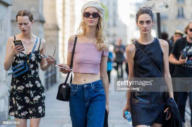 Models outside Ulyana Sergeenko during Paris Fashion Week Haute Couture Fall/Winter 20172018 Day Three on July 4 2017 in Paris France