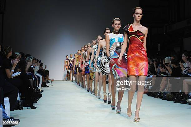 Models parade down the catwalk during the Mary Katrantzou fashion show at the Topshop Venue University of Westminster on September 19 2009 in London...