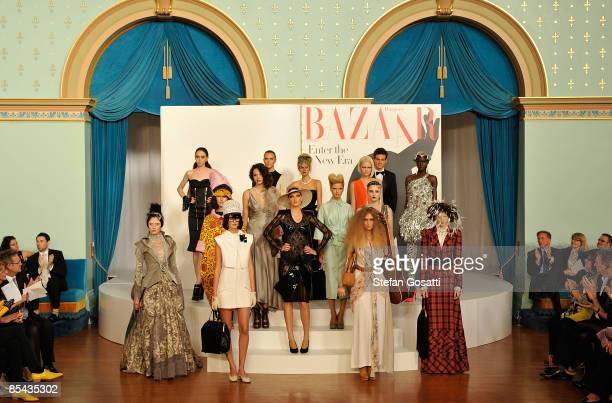 Models parade fashions presented by Harper's Bazaar at the opening party for the 2009 L'Oreal Melbourne Fashion Festival at Government House on March...