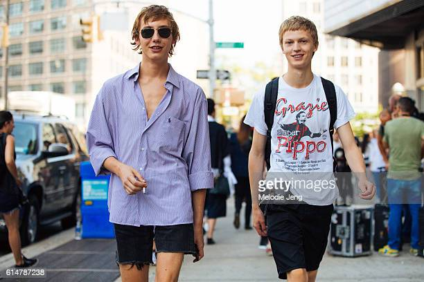 Models Paul Hameline Jonas Gloer after the Lacoste show at Spring Studios on September 10 2016 in New York City Paul wears an oversized purple Polo...