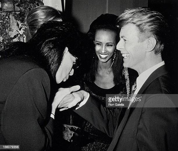 Models Paulina Porizkova and Iman and musicians David Bowie and Ric Ocasek attending '7th On Sale Benefit' on November 29 1990 at the 69th Regiment...