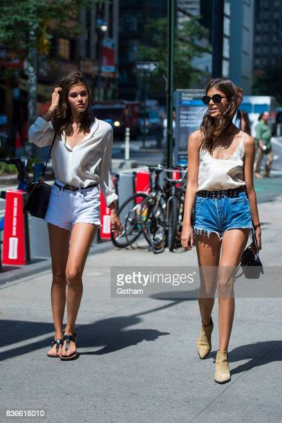 Models Pauline Hoarau and Antonina Petkovic attend call backs for the 2017 Victoria's Secret Fashion Show in Midtown on August 21 2017 in New York...