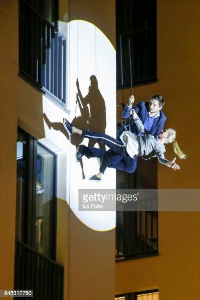 Models perform on the house wall runway at a QVC event during the Vogue Fashion's Night Out on September 8 2017 in duesseldorf Germany