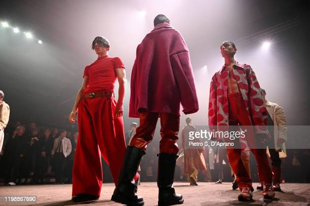 Models perform on the runway during the Marni Fall/Winter 2020 Fashion Show during the 2020 Milan Men's Fashion Week on January 11 2020 in Milan Italy