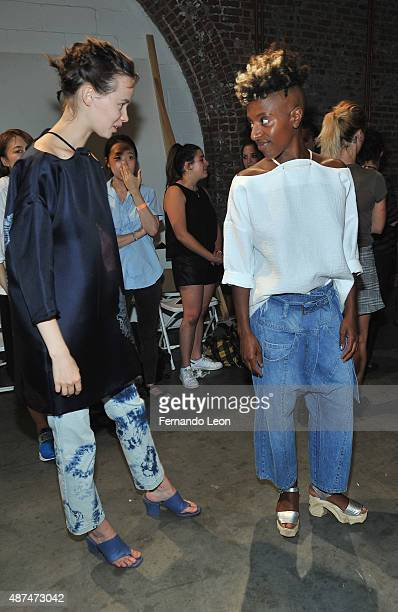 Models photographed backstage during the Rachel Comey fashion show at the Pioneer Works Center for Arts and Innovation on September 9 2015 in New...