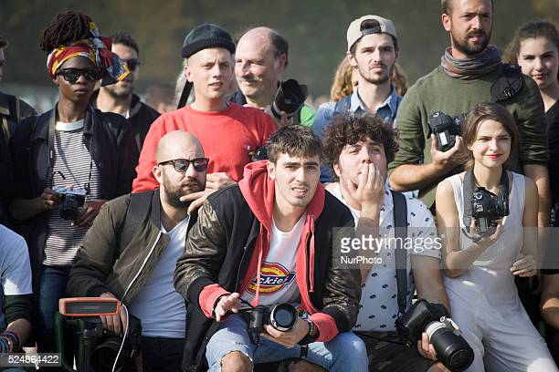 PARIS Models photographers and fashion professionals are seen gathering outside the shows during Paris Fashion Week Formal shows take place on the...