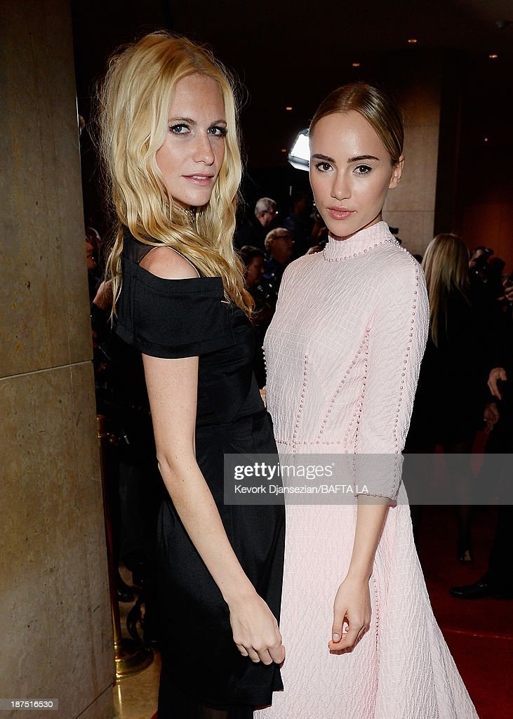 Models Poppy Delevingne (L) and Suki Waterhouse attend the 2013 BAFTA LA Jaguar Britannia Awards presented by BBC America at The Beverly Hilton Hotel on November 9, 2013 in Beverly Hills, California.