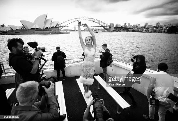 Models pose after at the Dyspnea show at MercedesBenz Fashion Week Resort 18 Collections at on Sydney Harbour on May 18 2017 in Sydney Australia