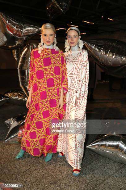 Models pose after the Dawid Tomaszewski Defile during the Berlin Fashion Week Autumn/Winter 2019 on January 16 2019 in Berlin Germany