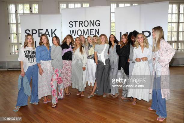 Models pose after the Line of Oslo show during Oslo Runway SS19 at Bankplassen 4 on August 15 2018 in Oslo Norway