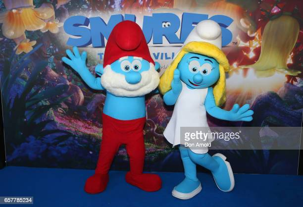 Models pose ahead of the SMURFS The Lost Village Sydney Premiere on March 26 2017 in Sydney Australia