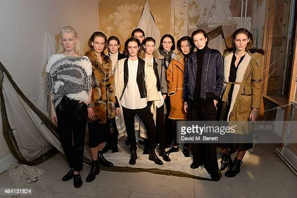 Models pose as Belstaff Presents Autumn Winter 2015 Womenswear Collection The Pursuit of Freedom at The Old Sessions House on February 22 2015 in...