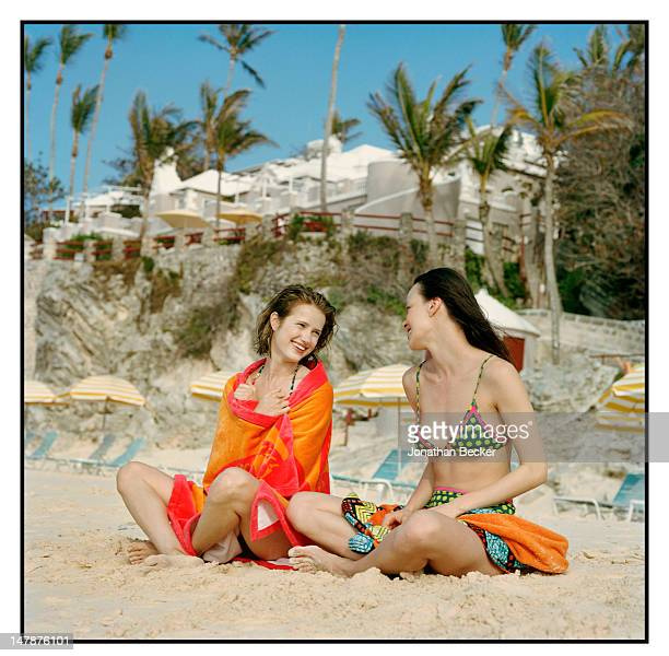 Models pose at a fashion shoot for Town Country Magazine on April 16 2011 at the Coral Beach and Tennis Club in Paget Parish Bermuda PUBLISHED IMAGE