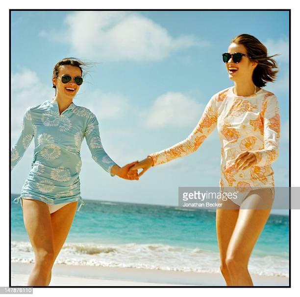 Models pose at a fashion shoot for Town Country Magazine on April 16 2011 at the Coral Beach and Tennis Club in Paget Parish Bermuda