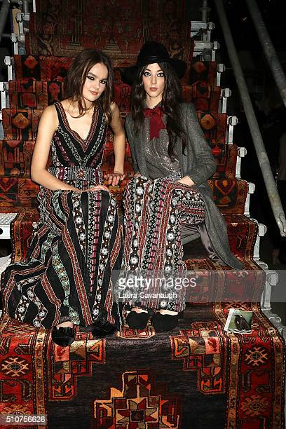 Models pose at Alice Olivia By Stacey Bendet Presentation Fall 2016 New York Fashion Week The Shows at The Gallery Skylight at Clarkson Sq on...