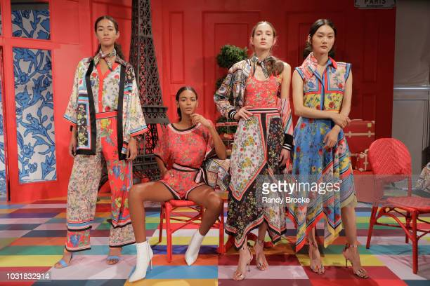 Models pose At Alice Olivia during New York Fashion Week at Pier 59 on September 11 2018 in New York City