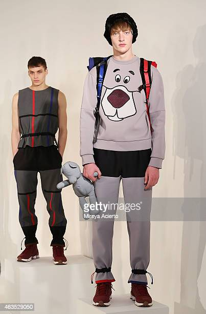 Models pose at Bobby Abley presentation during MADE Fashion Week Fall 2015 at Milk Studios on February 15 2015 in New York City