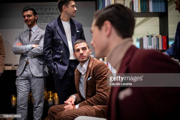 Models pose at Brunello Cucinelli Presentation during Milan Men's Fashion Week Autumn/Winter 2019/20 on January 12 2019 in Milan Italy