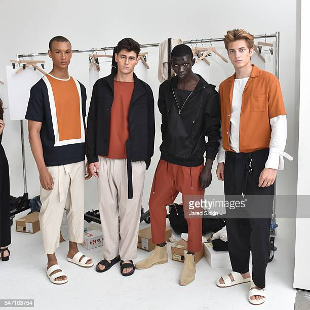 Models pose at Deveaux Backstage New York Fashion Week Men's S/S 2017 at 50 Varick Street on July 13 2016 in New York City