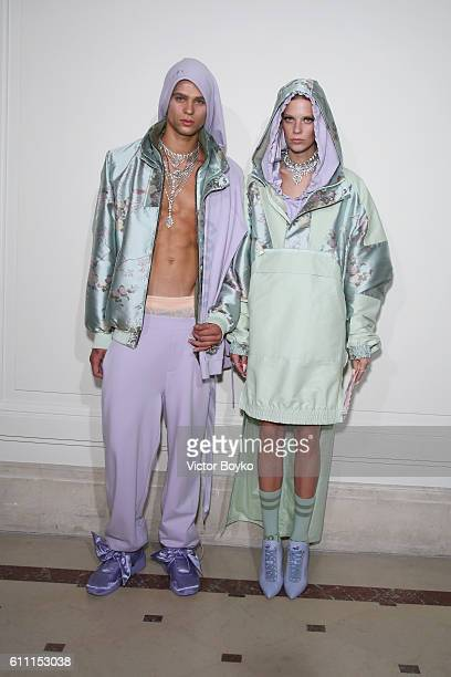 Models pose at FENTY x PUMA by Rihanna at Hotel Salomon de Rothschild on September 28 2016 in Paris France