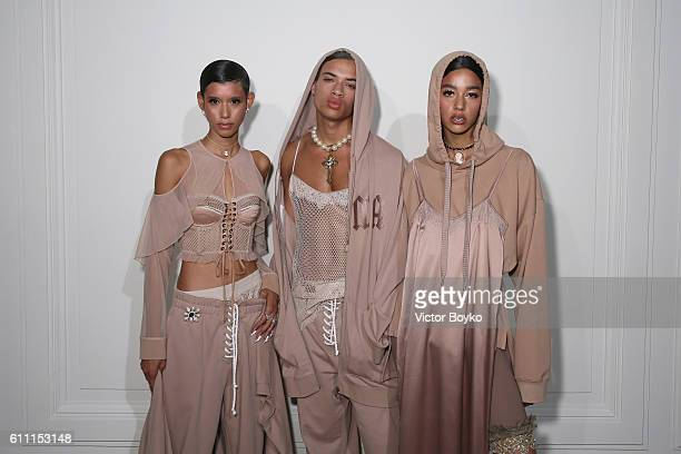 Models pose at FENTY x PUMA by Rihanna at Hotel Salomon de Rothschild on September 28 2016 in Paris France