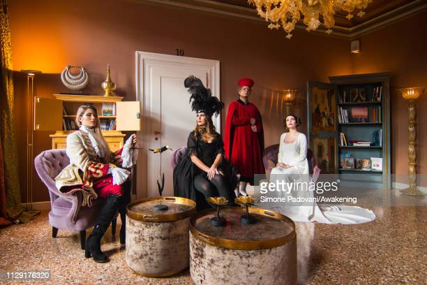 Models pose at Hotel Heureka wearing a Lady Oscar dress faithful reproduction of a General Austrian uniform a Violin black dress based on the typical...