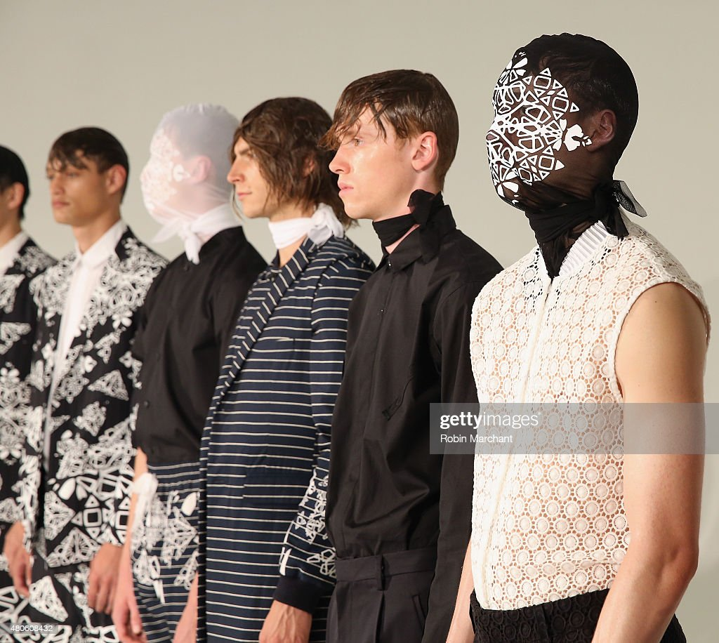 Models pose at Kenneth Ning Presentation during New York Fashion Week: Men's S/S 2016at Industria Superstudio on July 13, 2015 in New York City.