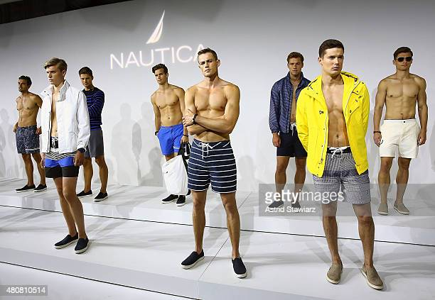 Models pose at Nautica - Presentation - New York Fashion Week: Men's S/S 2016 at Skylight Clarkson Sq on July 15, 2015 in New York City.
