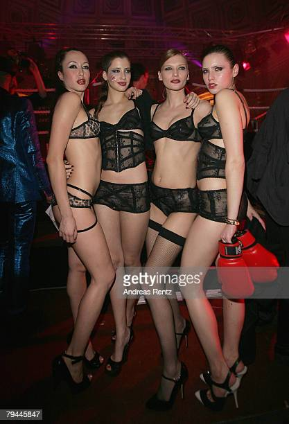 Models pose at the Agent Provocateur fashion show during the MercedesBenz Fashionweek Berlin autumn/winter 2008 on January 31 2008 in Berlin Germany