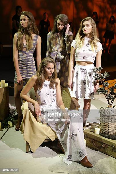 Models pose at the Aje show during MercedesBenz Fashion Week Australia 2014 at Carriageworks on April 10 2014 in Sydney Australia