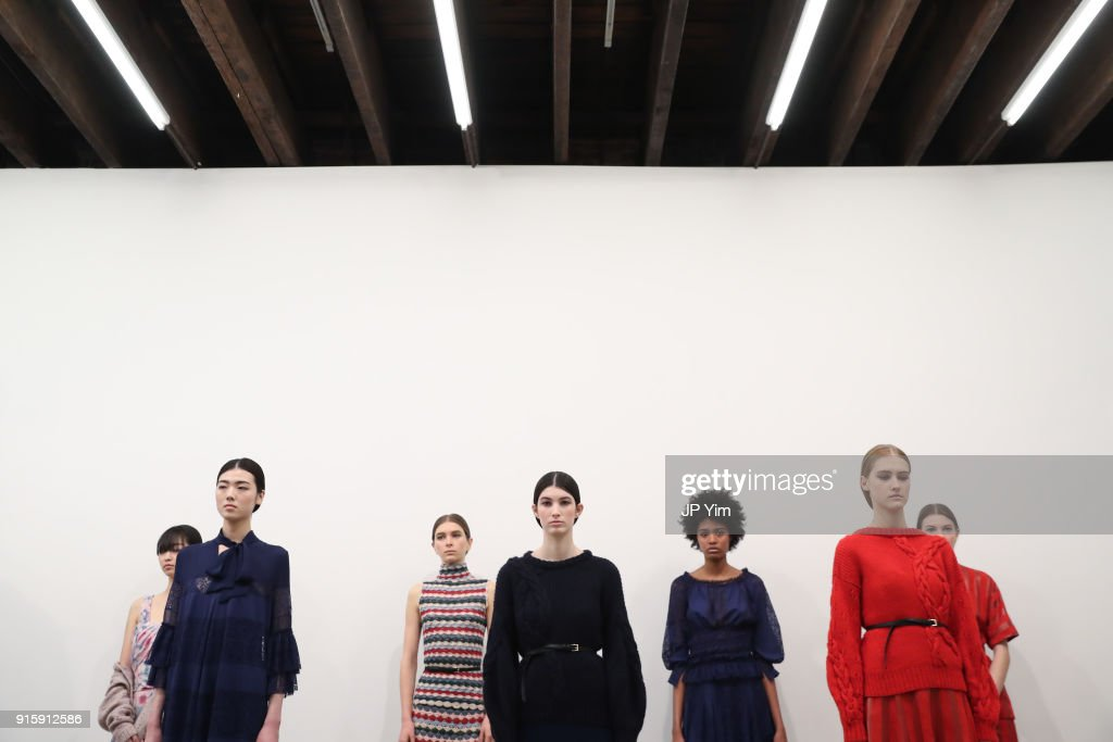 Models pose at the Alejandra Alonso Rojas FW18 Collection on February 8, 2018 in New York City.