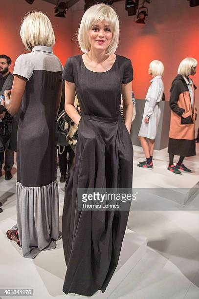 Models pose at the Anne Gorke show during the MercedesBenz Fashion Week Berlin Autumn/Winter 2015/16 at Brandenburg Gate on January 20 2015 in Berlin...