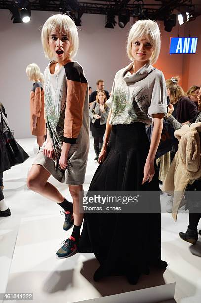 Models pose at the Anne Gorke show during the Mercedes-Benz Fashion Week Berlin Autumn/Winter 2015/16 at Brandenburg Gate on January 20, 2015 in...