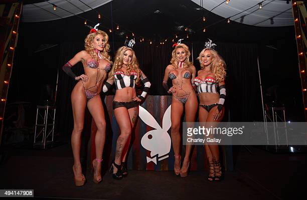 Models pose at the annual Halloween Party hosted by Playboy and Hugh Hefner at the Playboy Mansion on October 24 2015 in Los Angeles California
