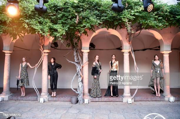 models pose at the Antonio Croce show during Milan Fashion Week Spring/Summer 2019 on September 21 2018 in Milan Italy