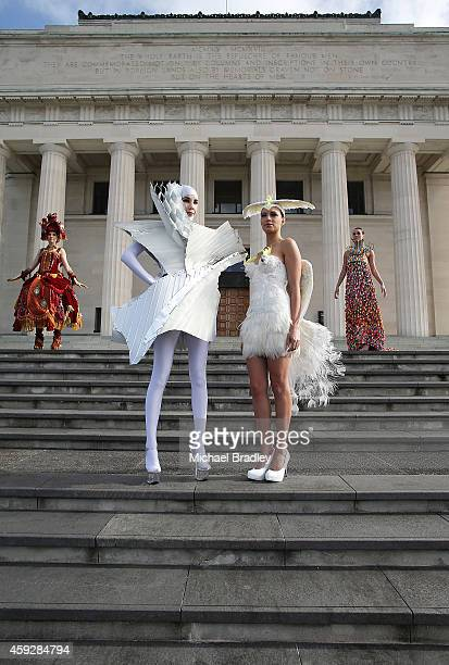Models pose at the Auckland War Memorial Museum's World of Wearable Art exhibition opening at Auckland Museum on November 20 2014 in Auckland New...