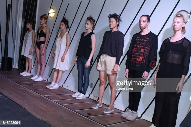 Models pose at the Berenik presentation during New York Fashion Week on September 12 2017 in New York City