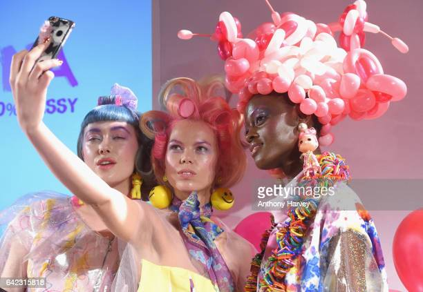 Models pose at the Billie Jacobina presentation at Fashion Scout during the London Fashion Week February 2017 collections on February 17 2017 in...